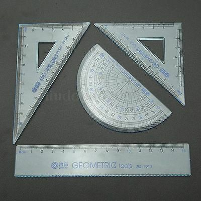 4 Pcs Clear Plastic School Maths GEOMETRY Set Protractor Triangle Straight Ruler