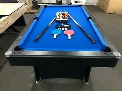 7 Foot Blue Felt Pool Table With Accessories