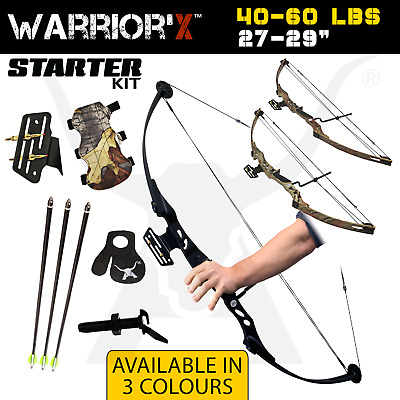 Brand New 40-60Lbs Apex Warrior'x Compound Bow Black Archery Hunting + Extras