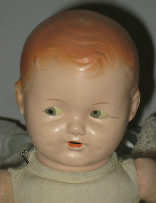 "Early Ideal Doll ""Ducky"" with flirty eyes, Compo Head, rubber limbs-cloth body"