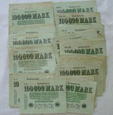 100 000 Mark - Lot ca. 90 Banknoten - Art. 2735