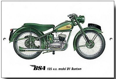 Bsa 125Cc Model D1 Bantam Metal Sign.vintage British Motorcycles.