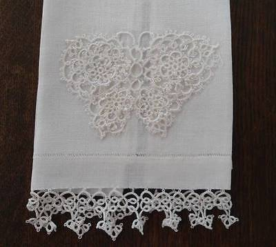 Vintage Linen Guest Hand Towel Tatted Lace Butterfly Edge