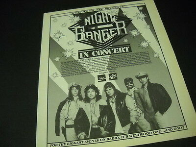NIGHT RANGER In Concert via WESTWOOD ONE 1985 Promo Poster Ad mint condition