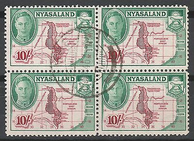 Nyasaland 1945 Kgvi Map 10/- Block Used
