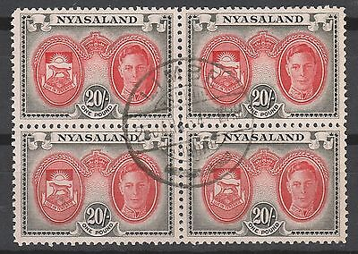Nyasaland 1945 Kgvi Arms 20/- Block Used