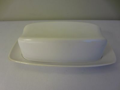 Vintage Lenox Ware White Melmac Plastic Covered Butter Dish with Cover / Lid