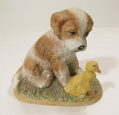 Homco Porcelain Dog with Duck Figurine - 1413