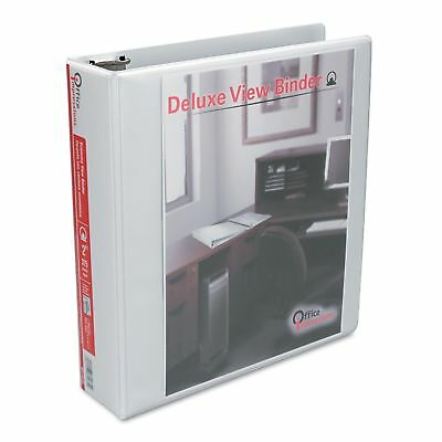 Deluxe View 2 inch 3 Ring Binder Round Ring White Office Impressions - 6 Pack