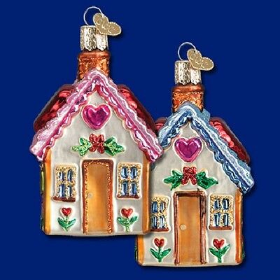 """Sweetheart Cottage"" (Blue Roof) (20066) Old World Christmas Ornament"