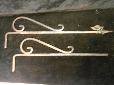 Pair Of Antique Vintage Iron Art Deco Curtain Drapery Swing Arm Part