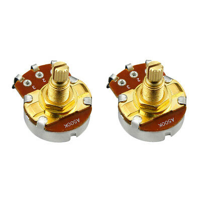 New 2pcs Golden 18mm Split Shaft Pots A500K Guitar Pots Full Size Potentiometers