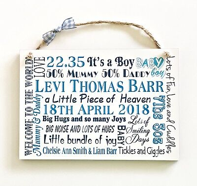 New Baby Girl Boy Personalised Gift, Plaque Birth Newborn Wooden Card W84