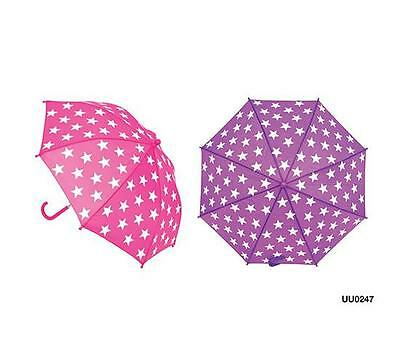 KS Brands UU0247 Kids Fashion Star Print Umbrella Crook Handle Pink/Purple - New