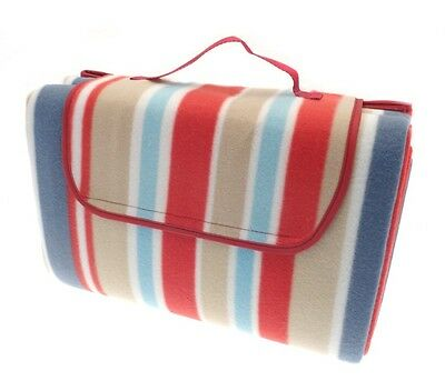 Country Club Beach Picnic Blanket Rug 150x200cm Red Blue Stripe Waterproof New