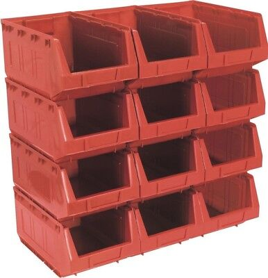 Sealey Plastic Storage Bin 209 x 356 x 164mm - Red Pack of 12