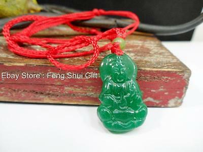 Chinese Kwan Guan Yin Buddha Green Carved Jade String Necklace Pendant NEW #JD