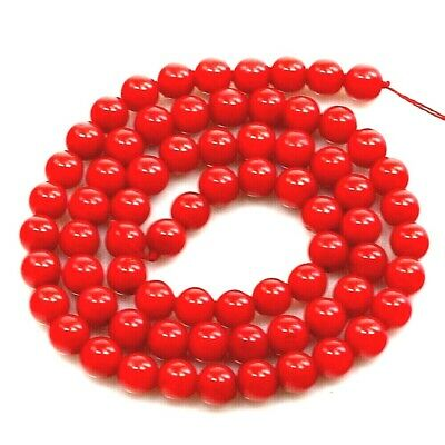 """8x8mm Red Sea Coral Round Beads 15"""" (CO119)"""