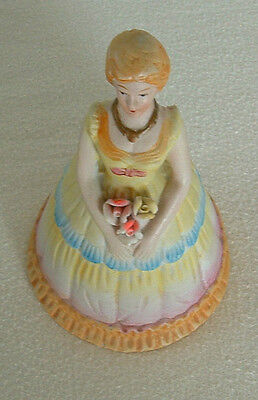 PORCELAIN BISQUE BELL with High Top SHOES Ringer ANTEBELLUM Lady Rose HOOP Skirt