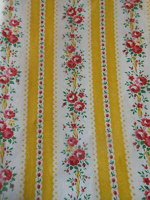 Antique French Lisere Roses Ribbon Stripe Cotton Fabric ~Yellow Red Pink ~unused