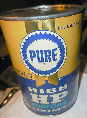 Vintage 1950's cardboard and tin can Pure Oil high HP purelube,quart,RARE