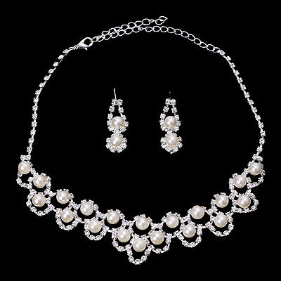 Prom Wedding Bridal Party Crystal Rhinestone Pearl Necklace Earring Jewelry Sets