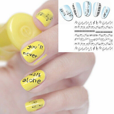 Nail Art Sticker Water Decals Transfer Stickers Music Musical Notes