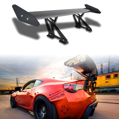 New Universal Aluminum Adjustable Light Weight GT Rear Racing Spoiler Wing Black