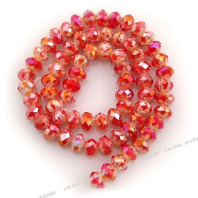 1String Hot Red AB Faceted Millefiori Flower-Shaped Beads Fit Jewelry Making LC