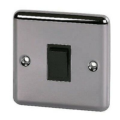Volex Black Nickel Single 1 Gang 2 Way Light Switch with Rounded Edge