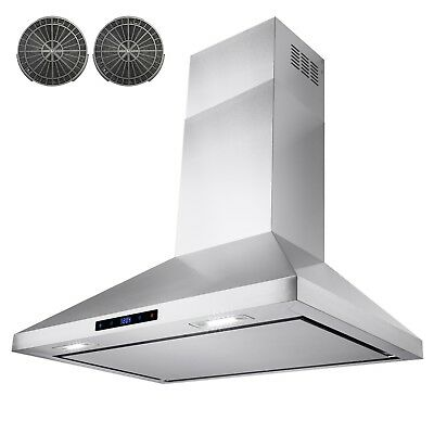 """30"""" Stainless Steel Wall Mount Range Hood Touch Screen Panel Kitchen Ductless"""