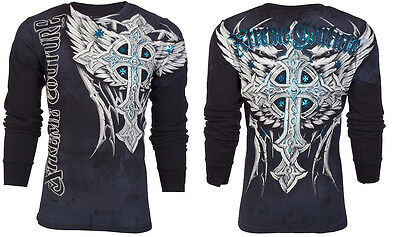 Xtreme Couture AFFLICTION Mens THERMAL T-Shirt PANTHER Tattoo Biker MMA $58