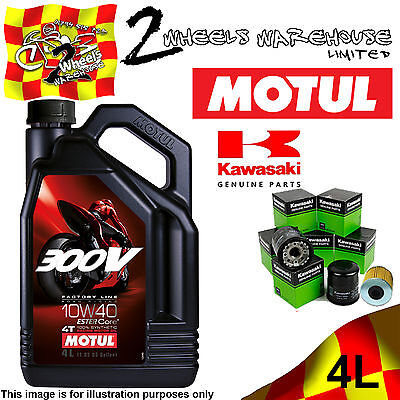 4L Motul 300V 10W40 Oil And Kawasaki 160970008 Filter Change Z1000 B7F 07 2007