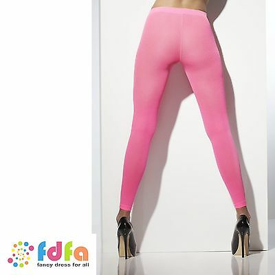 NEON PINK OPAQUE FOOTLESS TIGHTS STOCKINGS accessory ladies womens hosiery