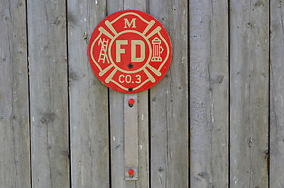 Vintage FIRE DEPT M FD CO.3 Sign with Mounting Bracket
