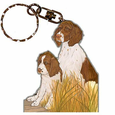 English Springer Spaniel Wooden Dog Breed Keychain Key Ring
