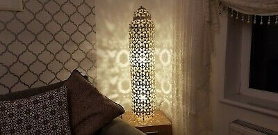 Floor Lamp Moroccan Style Vintage Silver Colour Metal with Clear Jewels