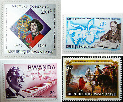Postage Stamps Lot 4 Rwanda Copernicus Astronomy Fdr Roosevelt Science Music