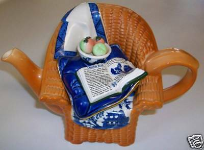 PAUL CARDEW BLUE REAL WILLOW WICKER CHAIR TEAPOT RARE RETIRED FREE SHIPPING & IN