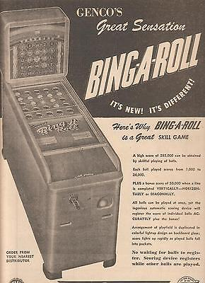 Genco Bing-A-Roll coin-op game 1947 Ad- It's Different!