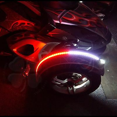 1x Red White Dual Color Fender Channel Flex LED Strips Can Am Spyder RS ST RT F3
