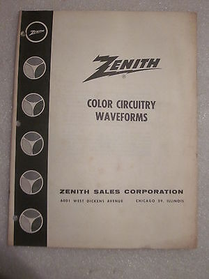 1962 Zenith Television Color Circuitry Waveforms Guide Form CCW-100