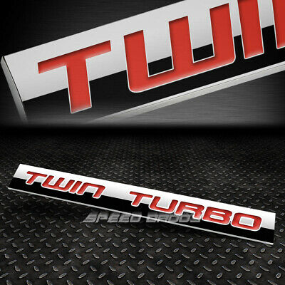 Metal Grill Trunk Emblem Decal Logo Trim Badge Polished Red Letter Twin Turbo