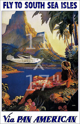 Vintage Airline Travel Poster 11x17 inches Pan Am Rio #3