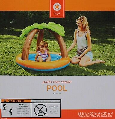 Inflatable Palm Tree Shade Toddler Baby Pool 38x37x27 Ages 1-3 NIB