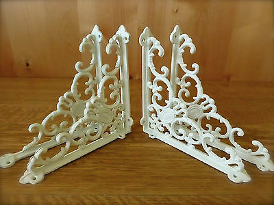 "4 WHITE ANTIQUE-STYLE 8"" SHELF BRACKETS CAST IRON rustic wall garden VICTORIAN"