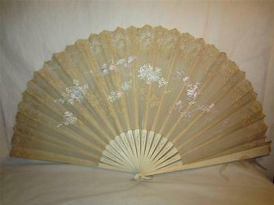 Antique Chinese Hand Painted Silk & Lace Carved Bovine Stick Fan