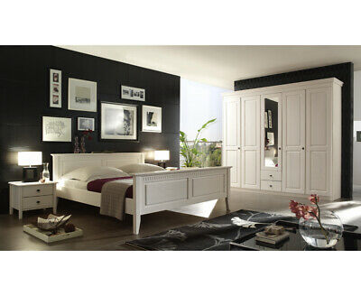 landhaus schlafzimmer komplett set massiv wei doppelbett kleiderschrank konsole eur. Black Bedroom Furniture Sets. Home Design Ideas
