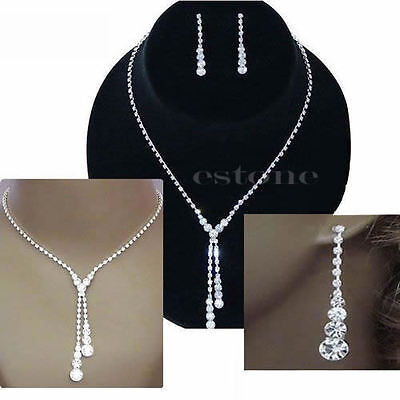 Elegant Wedding Bridal Rhinestone Crystal Necklace Drop Earrings Jewelry Sets