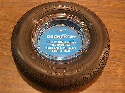 Original Goodyear Vector Tire Ash Tray Advertising Clear Glass